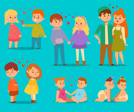 Happy smiling kids lovely couple with hearts fall in love vector cartoon characters togetherness. Couple in love romantic boys and girls together adult relationship beautiful happiness couple in love Illustration