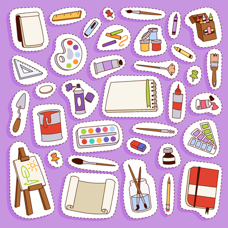 Painting vector artist tools palette icon set flat illustration details stationery creative paint equipment art canvas drawing symbol artist instrument for creativity decoration