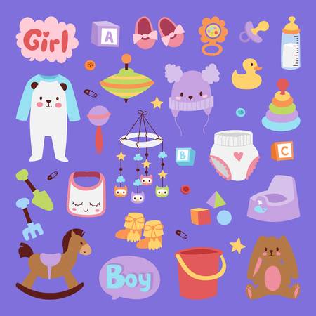 Vector infant small newborn baby clothes and toys icon set design textile casual fabric and infant dress. New born child kids garment wear illustration. Cute object suit infant cotton Illustration