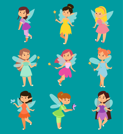 Beautiful fairy princesses vector fairy wings fly character magic wand set. Collection of cartoon fairies characters little girls. Princess fashion fairytale magic fantasy cute dress crown girl Vettoriali