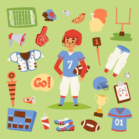 American football vector player uniform sport icons isolated on background. Sport athlete uniform people helmet icons. Winning adult football soccer professional competition sports equipment