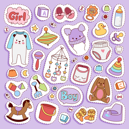 Vector infant small newborn baby clothes and toys icon set design textile casual fabric and infant dress. New born child kids garment wear illustration. Cute object suit infant cotton. Illustration