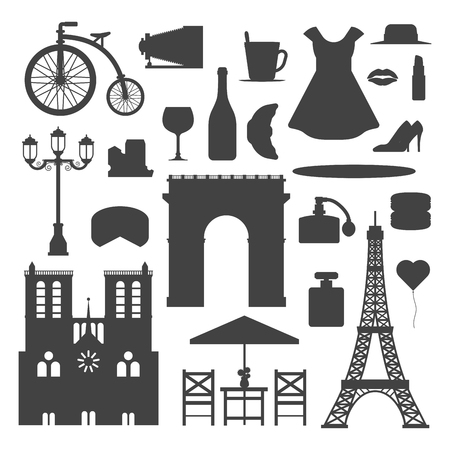 Paris icons vector silhouette famous travel cuisine traditional modern France culture Europe Eiffel fashion design architecture symbols illustration.