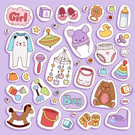 Bebé pequeño bebé recién nacido ropa y conjunto de iconos de juguetes diseño textil casual tela y vestido infantil. Ilustración de desgaste de ropa de niños recién nacidos. Lindo traje de algodón infantil. Ilustración de vector