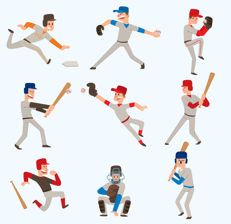 Baseball team players vector sport man in uniform game poses baseball poses situation professional league sporty character winner illustration boy competition adult athlete person. Illustration