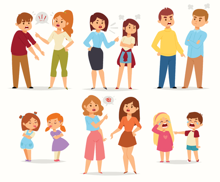 Quarrel conflict stress couples character vector people with arguing quarrel screaming people in different situations in flat style and illustration.