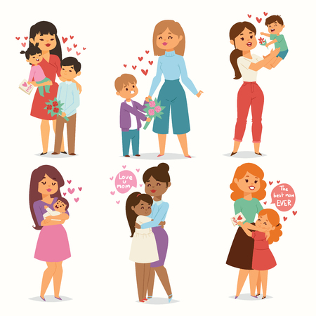 Los niños de la madre y los niños con ramo de flores aman a las parejas del corazón. Día de la Madre, San Valentín o Mujer 8 de marzo. Vacaciones familiares de primavera o verano hermoso personaje femenino Celebración del Día de la Madre presente Ilustración de vector