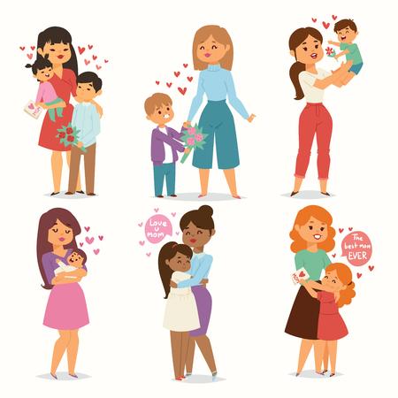 Mère et enfants enfants avec bouquet de fleurs aiment les couples de coeur. Mères, Valentin ou femme le 8 mars. Printemps ou été vacances en famille beau personnage féminin célébration de la fête des mères présente Vecteurs