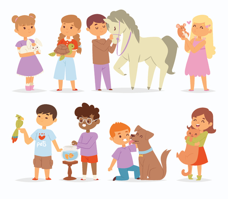 Toddler cartoon vector kids characters petting little pet in and cute kind child hold hug home pets animals lovely friends like horse pony, cat, dog, bird in the zoo pets friendship illustration Imagens - 95299093