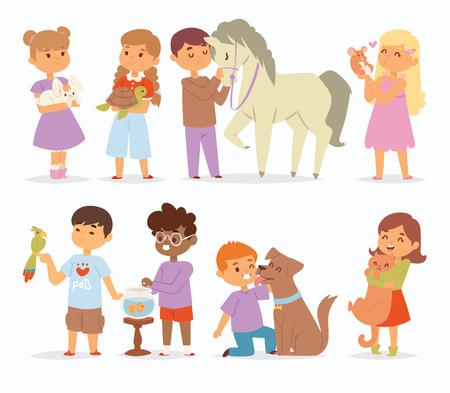 Peuter cartoon vector kinderen karakters aaien klein huisdier in en schattig soort kind houden knuffel thuis huisdieren dieren mooie vrienden zoals paard pony, kat, hond, vogel in de dierentuin huisdieren vriendschap illustratie