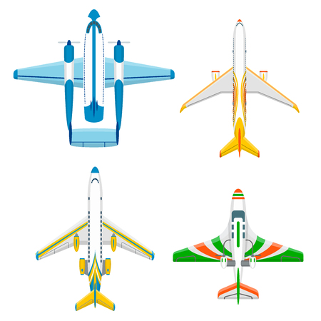 Vector airplane illustration plane top view and aircraft transportation travel way design journey airplane speed plane aviation. 일러스트
