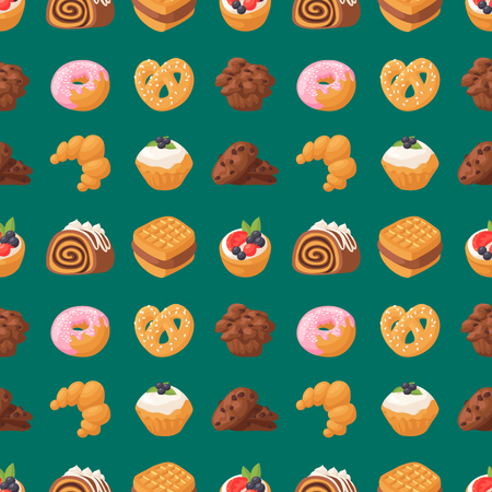 Cookie cakes, tasty snack, delicious chocolate homemade pastry biscuit, sweet dessert, bakery food in seamless pattern background vector illustration.