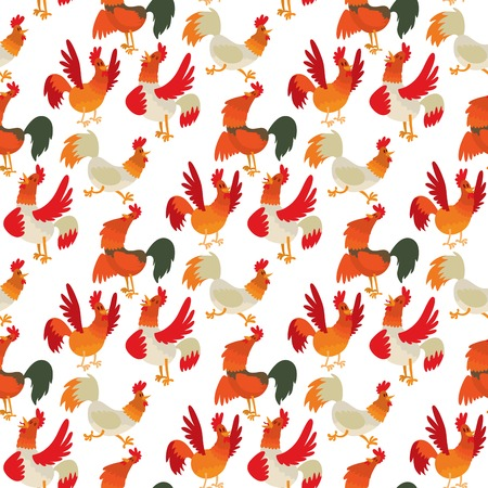 Cute cartoon rooster vector illustration, chicken character in seamless pattern background.