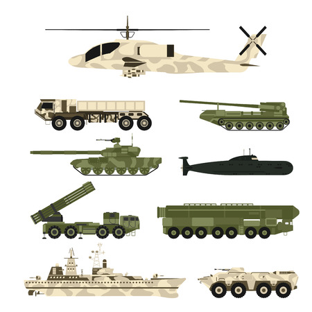 Set of war tanks graphic design illustration.