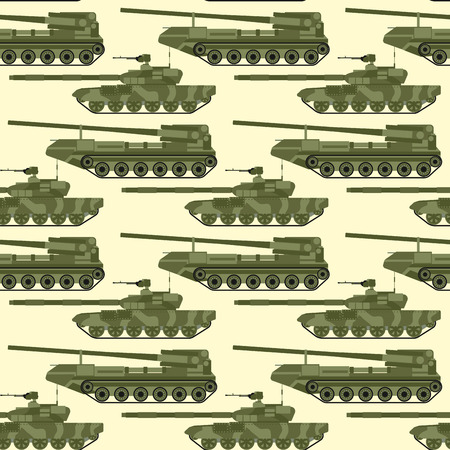 War tanks seamless pattern background vector illustration. Çizim