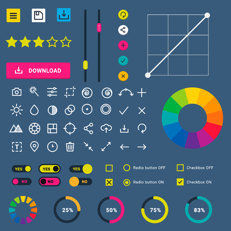 User interface vector phone laptop tab device mobile app indicators download progress ui-ux web interface design template file upload illustration. Interface elements Ilustração