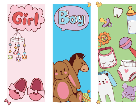 Baby toys banner cartoon toy shop design Illustration