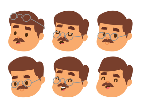 Mustached man with eyeglasses showing different facial expression