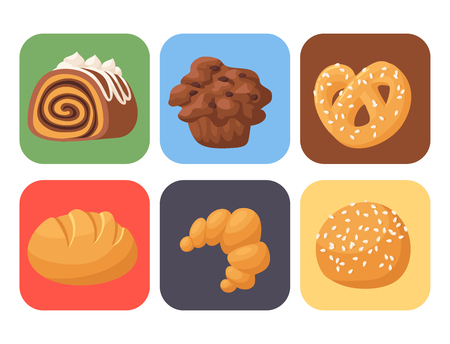 Homemade bakery food icon set