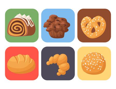 Homemade bakery food icon set