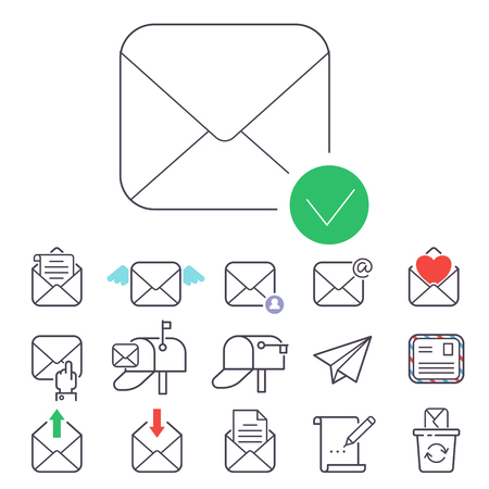Email letter icons set