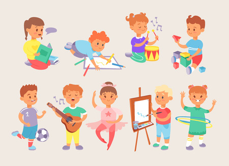 Young children doing different activities: playing, painting, reading, dancing. Vector illustration.