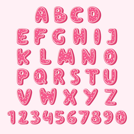 Alphabet letters and numbers in pink cookie texture. Vector illustration on pink background.