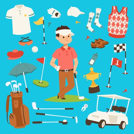 골프 선수 의류 및 액세서리 벡터 일러스트 레이 션. 골프 클럽 남성 야외 게임 플레이어. 일러스트