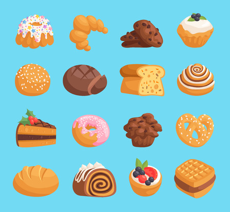 Cookies, cakes and pastries vector illustration on blue background. Illustration