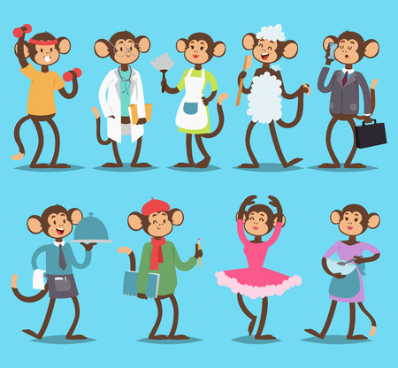 Monkeys dressed in different  clothes: suit, dress, painter, doctor. Vector illustration on blue background. Illustration