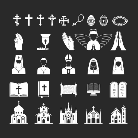 Christianity religion vector religionism flat illustration of traditional holy sign silhouette praying religionary christian faith religionist priest church traditional culture symbol.