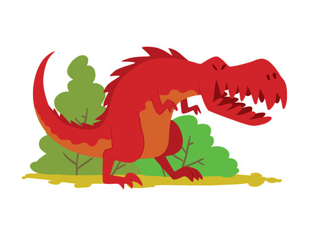 Dinosaur with trees in prehistoric time. Flat style vector illustration on white background.