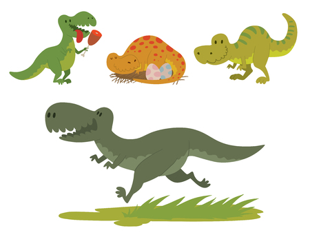 Dinosaurs flat style vector illustration isolated on white background.