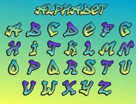 グラフィティアルファベットベクトルハンド描きグランジフォントペイントシンボルデザインインクスタイルテクスチャタイプセット  イラスト・ベクター素材