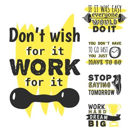 Sport motivational icon vector design hand drawn element banner. gym  trainings motivation text lettering illustration. Ilustração