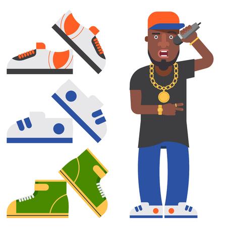 Hip hop man accessory set 向量圖像