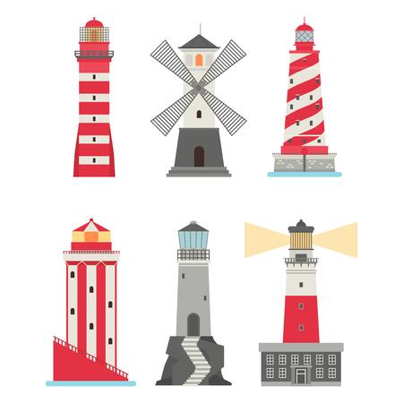 Lighthouses vector symbol illustration set