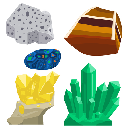Semi precious gemstones vector illustration.