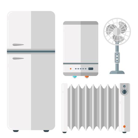 Huistoestellen vector - koelkast, verwarming, ventilator, water dispenser