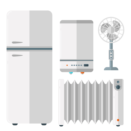 Home appliances vector - fridge, heater, fan, water dispenser Illustration