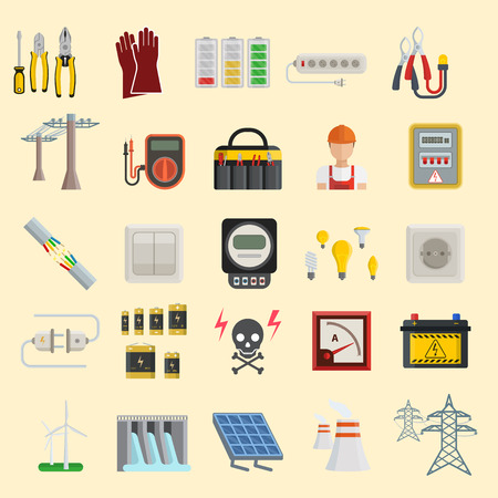 Energy power icons vector. Electricity safety power icons. Standard-Bild - 96273254