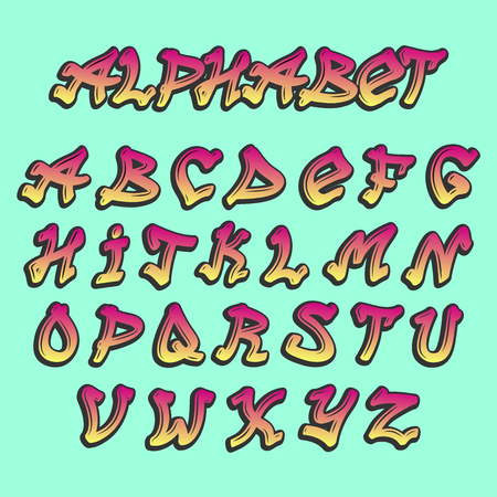 Alphabet graffiti vector alphabetical font ABC by brush stroke with letters and numbers or grunge alphabetic typography illustration isolated on background
