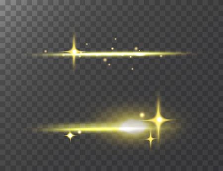 Glowing stars on transparent illustration