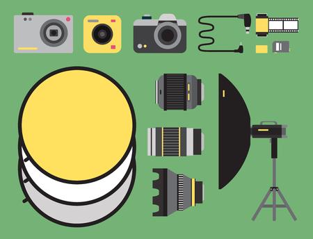 Photography studio icons set