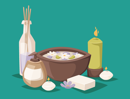 Herbal beauty products spa stones illustration.