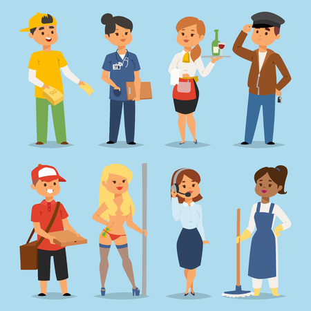 People part-time job professions vector set