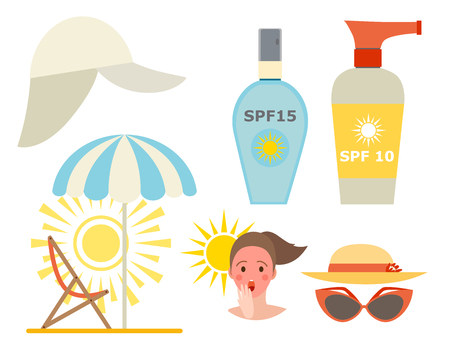Sunscreen bottle vector icon set
