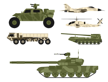 Military army transport vector set