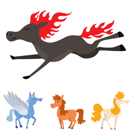 Horse, pony, stallion vector set