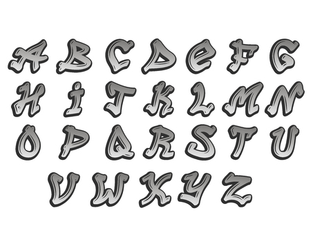 Graffity alphabet vector typeset